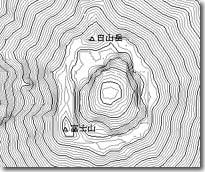 等高線と白地図を指定すると ...